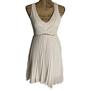 Cute White sweetheart open back accordion dress